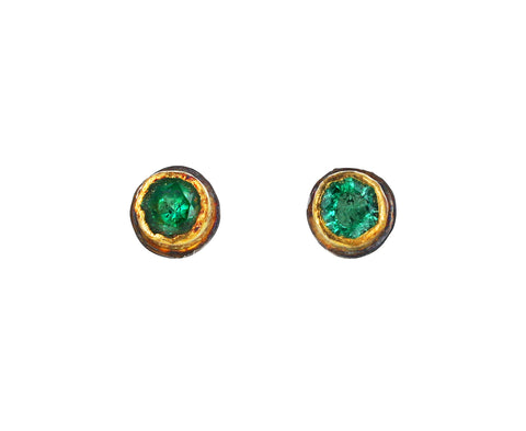 Round Emerald Post Earrings