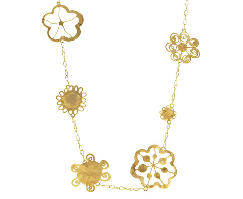 Tea Length Gold Flowery Necklace