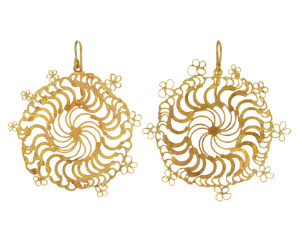Large Flowery Spiral Dangle Earrings