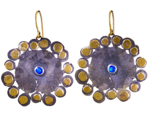 Large Flat Flowery Opal Squash Earrings - TWISTonline