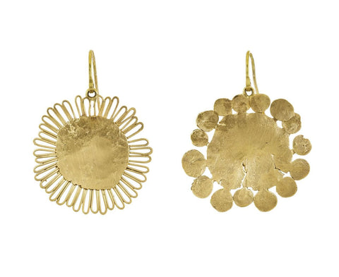 Gold Flat Flowery Earrings - TWISTonline
