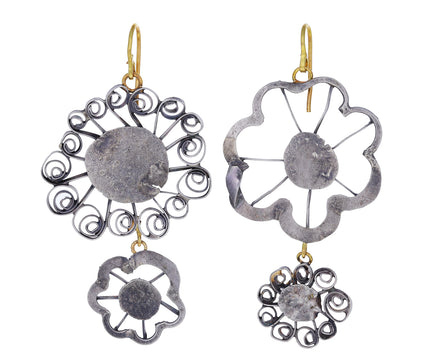 Silver Flat Flowery Double Earrings