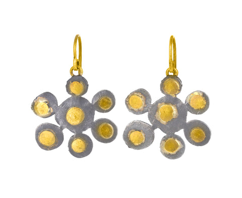 Gold and Silver Flowery Earrings