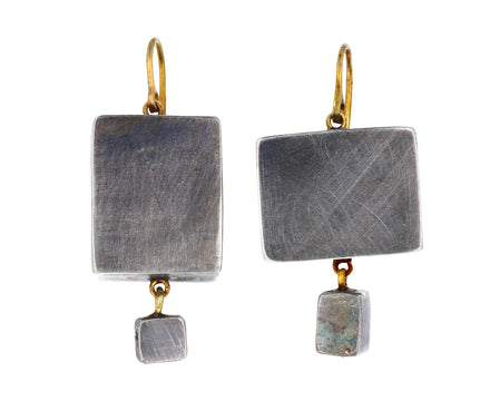 Giant Silver Cubic Earrings