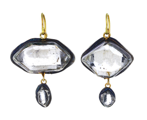 Large Lovely Double Herkimer Diamond Drop Earrings
