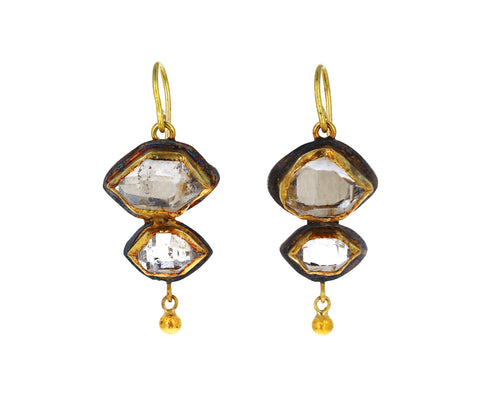 Double Herkimer Drop Earrings
