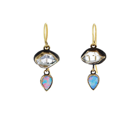 Opal and Herkimer Diamond Drop Earrings
