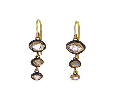 Judy Geib Small Triple Herkimer Diamond Dangling Earrings