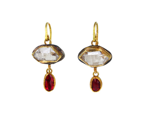 Lovely Herkimer Diamond and Ruby Drop Earrings