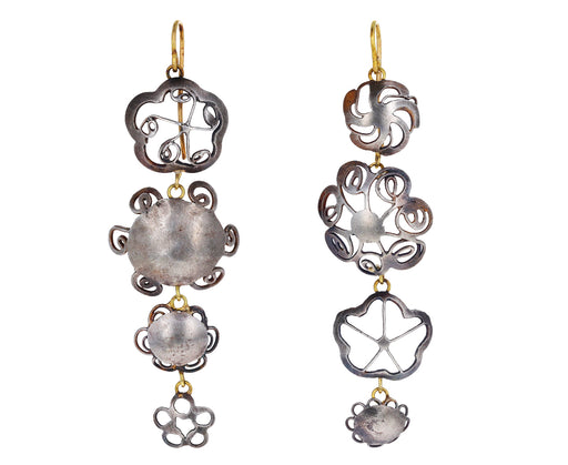 Four Dangly Silver Flower Earrings