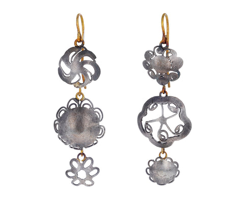 Triple Silver Flowery Drop Earrings