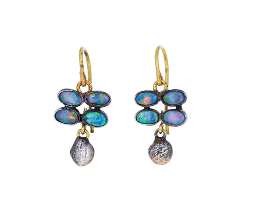 Judy Geib Small Quadruple Opal with Silver Blob Drop Earrings
