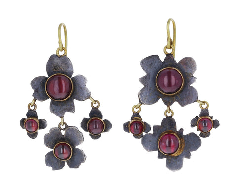 Rhodolite Garnet Medieval Folklorish Chandelier Earrings