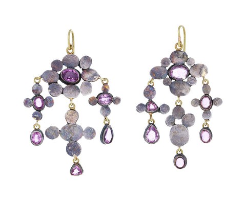 Pink Sapphire Medieval Folklorish Chandelier Earrings