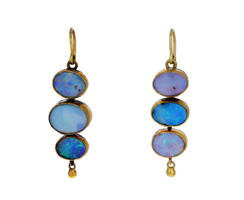 Opal Triple Dangly Drop Earrings