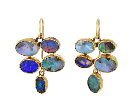 Oval Opal Dangling Earrings