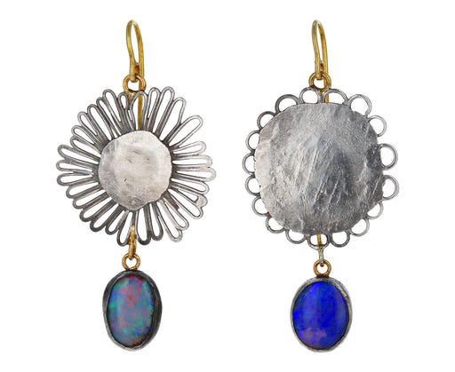 Flat Flowery Opal Drop Earrings