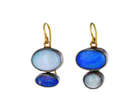 Double Opal Drop Earrings