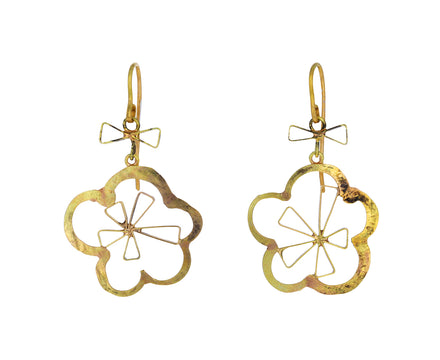 Triangular Star and Flower Earrings