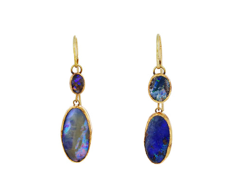 Double Boulder Opal Earrings