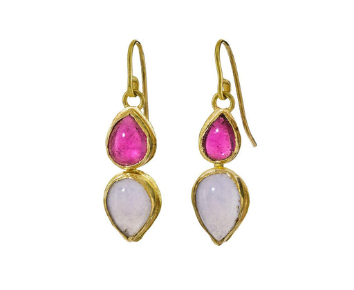Pink Tourmaline and Chalcedony Drop Earrings - TWISTonline