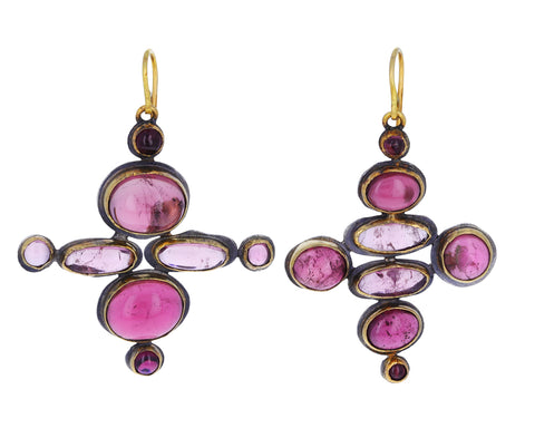 Playful Stacked Pink Tourmaline Earrings