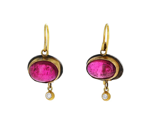 Pink Tourmaline and Diamond Drop Earrings