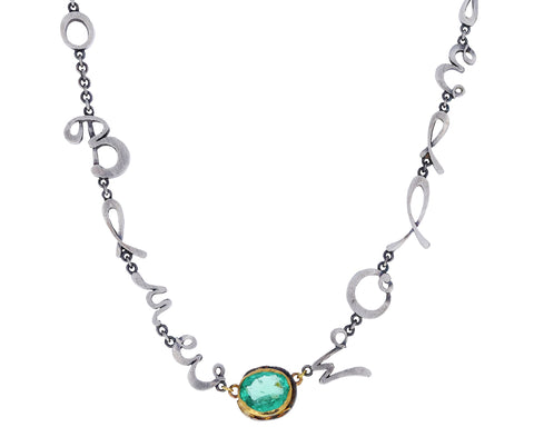 Emerald and Silver Script Colors Necklace