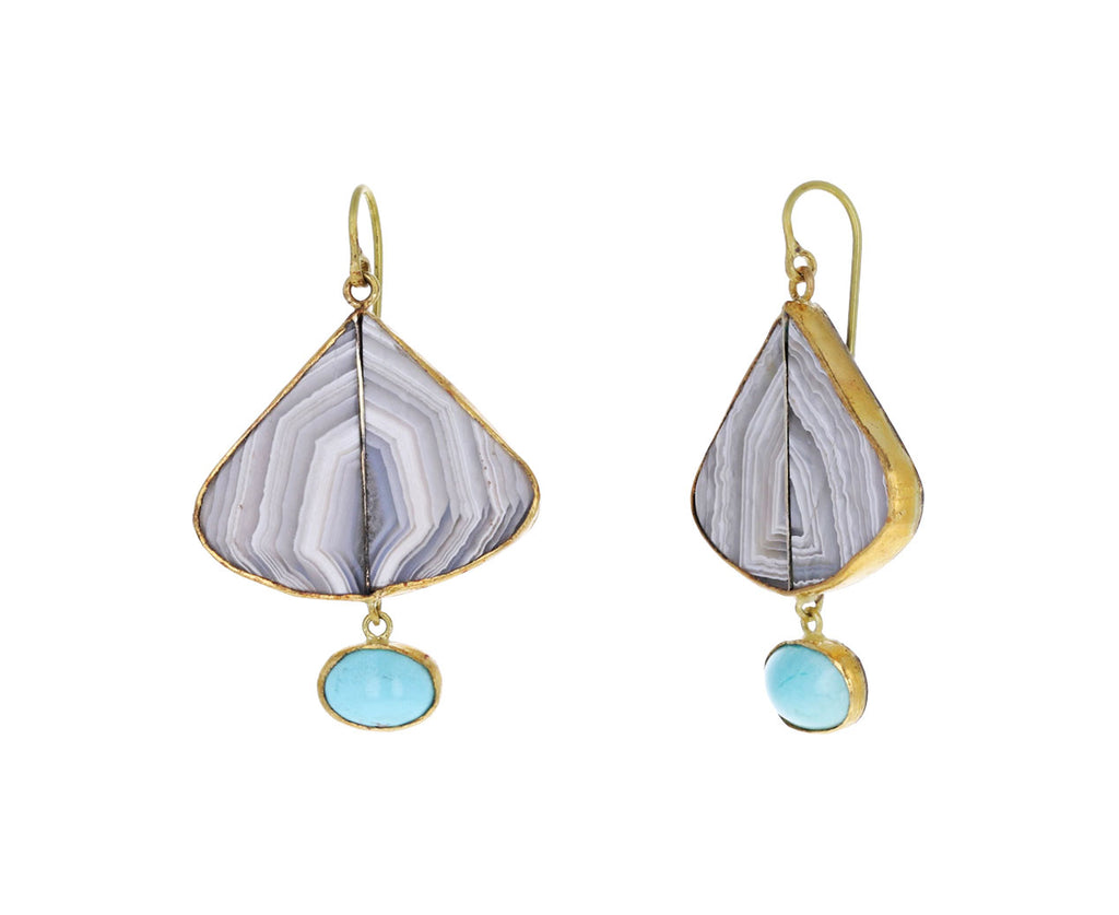 Striped Agate and Persian Turquoise Drop Earrings