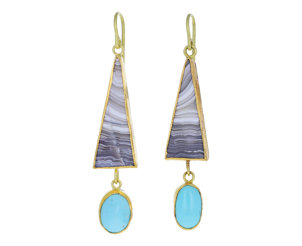 Triangular Striped Agate and Persian Turquoise Dangle Earrings
