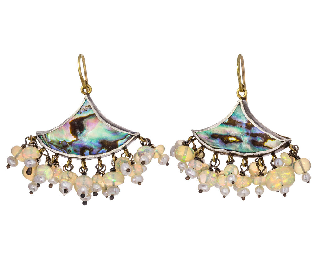 Abalone Fan Earrings with Pearls and Opals