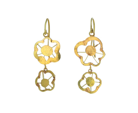 Silly Double Drop Squash Flower Earrings