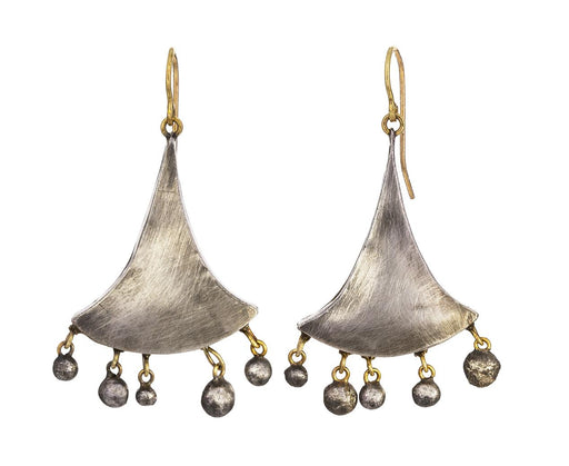 Silver and Gold Fan Dangle Earrings - TWISTonline