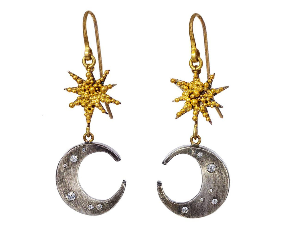 Double Moon and Star Earrings with Diamonds - TWISTonline