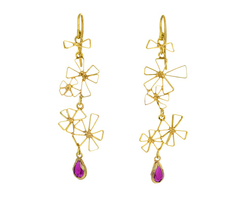 Ruby Starry Dangly Earrings