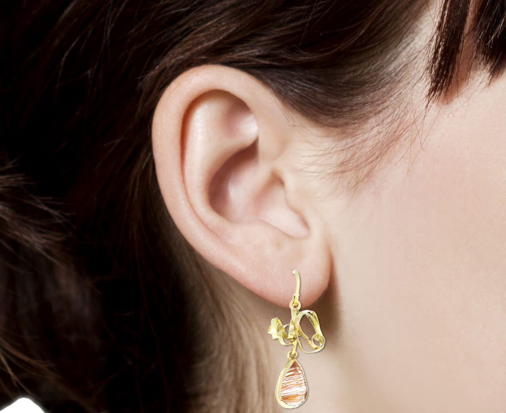 Judy Geib Gold Tangles with Rutilated Quartz Drop Earrings