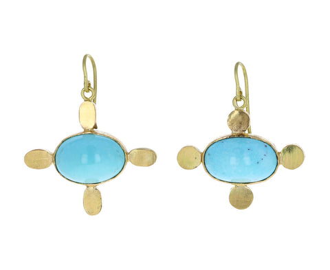 Gold Persian Turquoise Medieval Folklorish Earrings