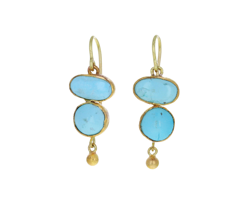 Lovely Persian Turquoise Double Drop Earrings