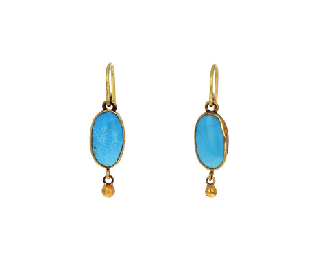 Oval Persian Turquoise Single Drop Earrings