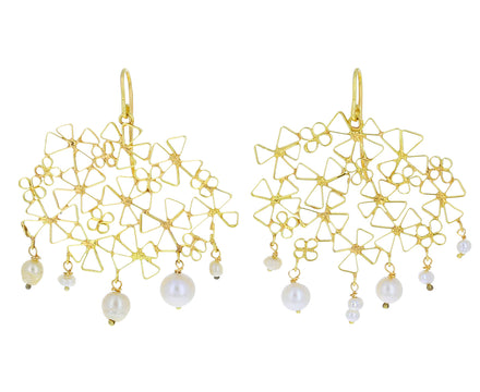 Dangling Pearl Pinwheel Wiener Werkstätte Earrings - TWISTonline