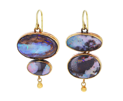 Double Oval Opal Earrings