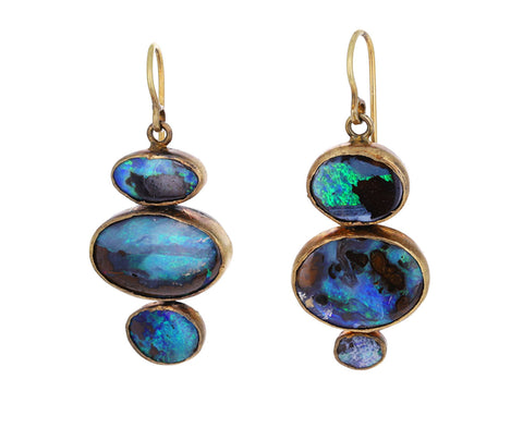 Large Triple Dangly Opal Earrings