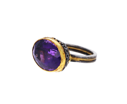 Lovely Amethyst Flowery Basket Ring