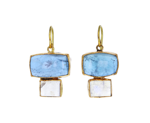 Rectangular Aquamarine and Moonstone Double Drop Earrings