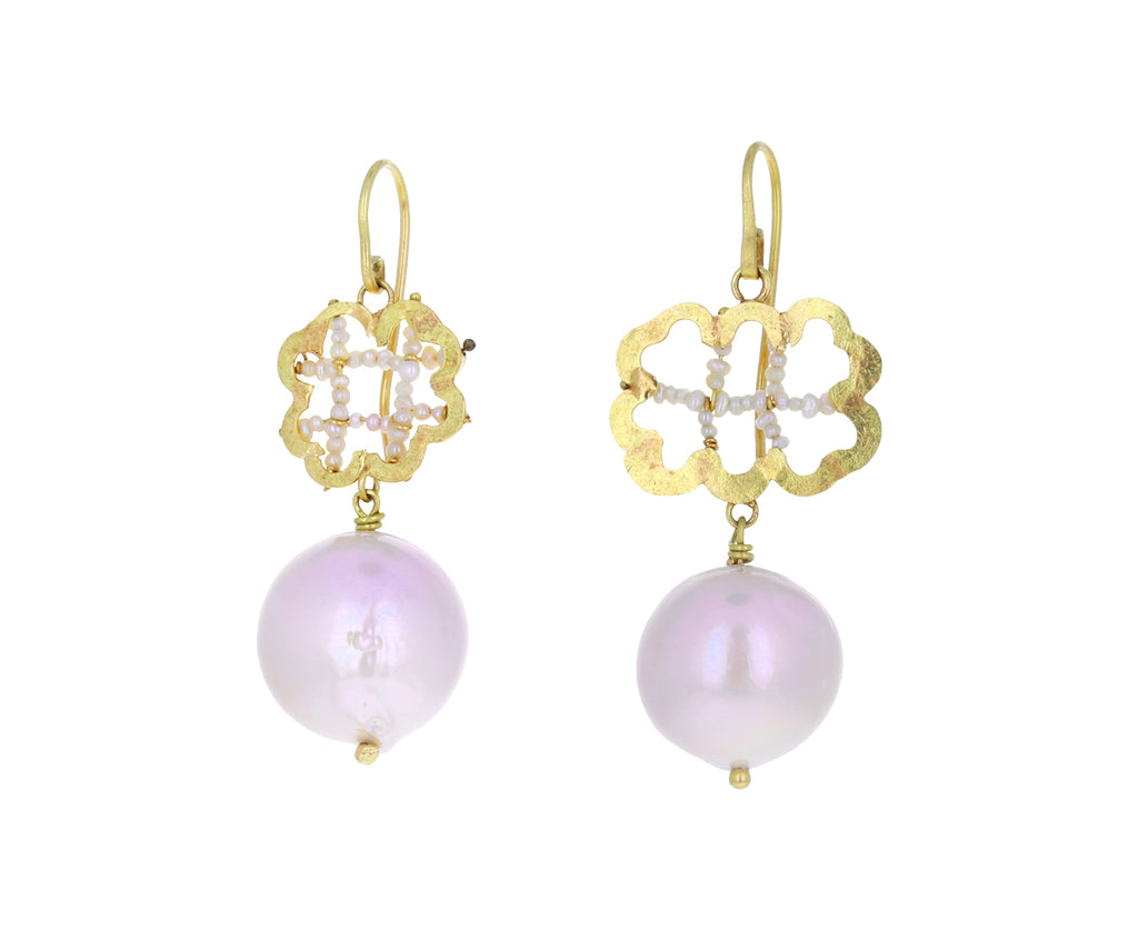 Mismatched Pearl Flower Earrings