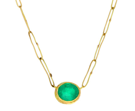 Bright Oval Colombian Emerald Echo Necklace