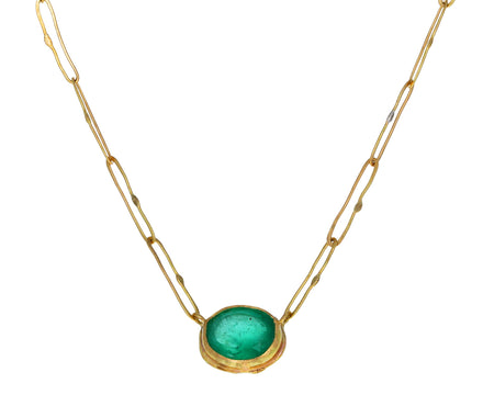 Lovely Oval Colombian Emerald Echo Necklace