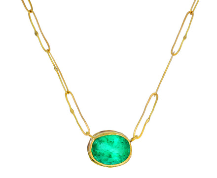 Lovely Oval Emerald Echo Necklace