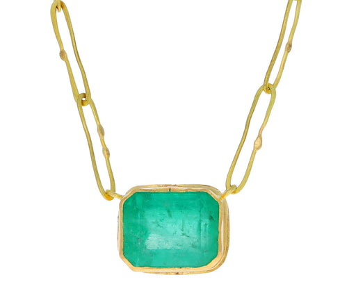 Judy Geib Large Rectangular Colombian Emerald Echo Necklace