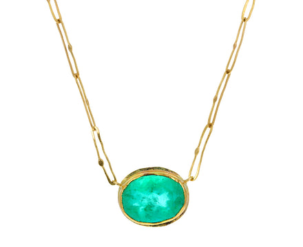 Oval Colombian Emerald Echo Necklace